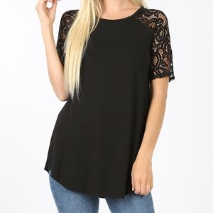 Zenana Premium shirt with lace sleeves